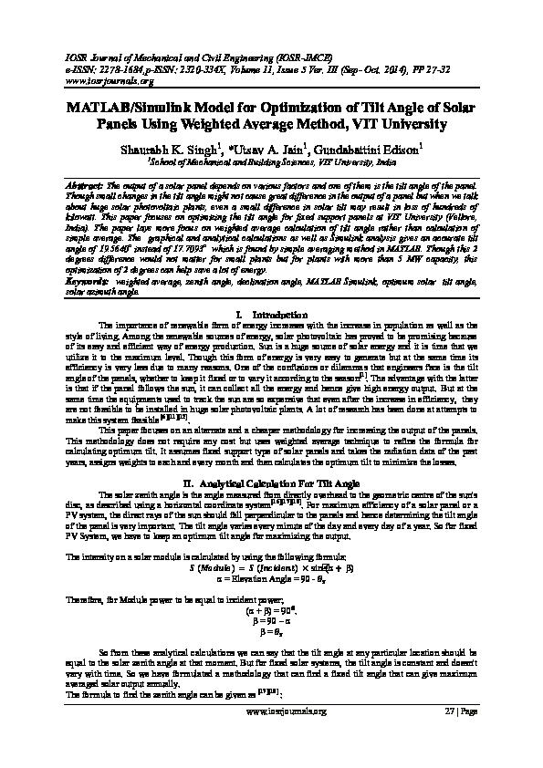 PDF) MATLAB/Simulink Model for Optimization of Tilt Angle of