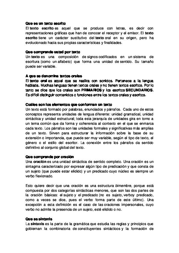 Doc Que Es Un Texto Escrito Robert Sanchez Academia Edu
