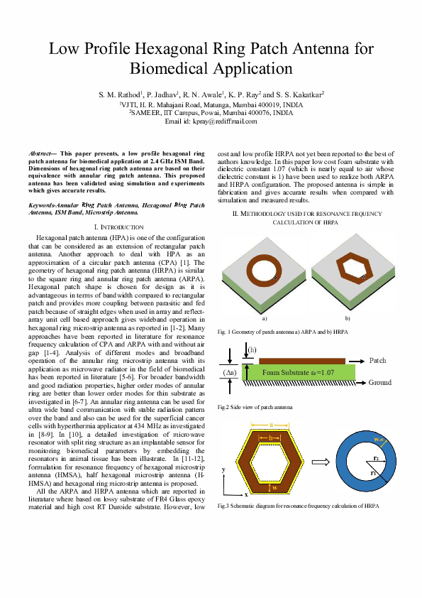 PDF) Low Profile Hexagonal Ring Patch Antenna for Biomedical