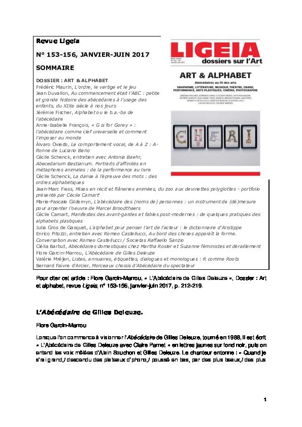Pdf L Abecedaire De Gilles Deleuze Dossier Art Et Alphabet Revue Ligeia N 153 156 Janvier Juin 2017 P 212 219 Flore Garcin Marrou Academia Edu