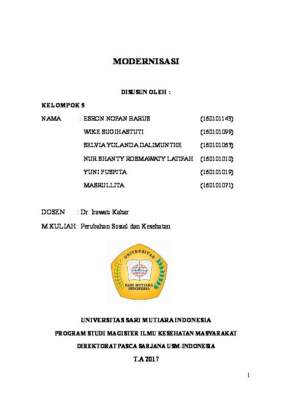 Doc Universitas Sari Mutiara Indonesia Program Studi Magister Ilmu Kesehatan Masyarakat Direktorat Pasca Sarjana Usm Indonesia Nur Shanty Academia Edu