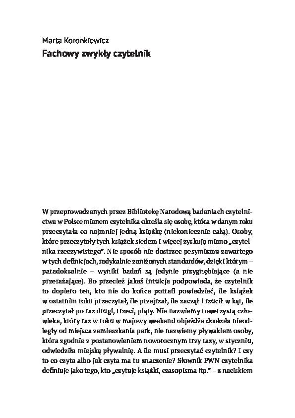 Pdf Fachowy Zwykły Czytelnik Adam Ważyk Marta