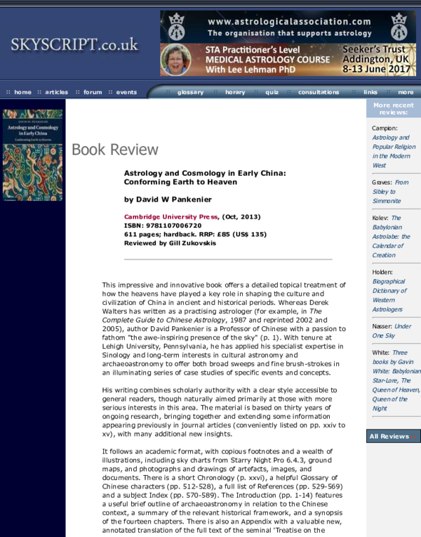 PDF) Book Review: Astrology and Cosmology in Early China