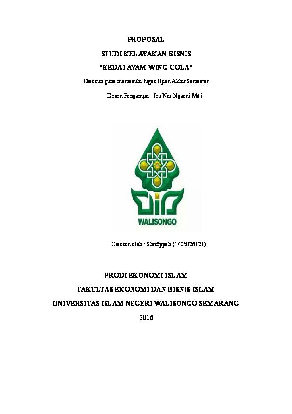 Contoh Proposal Studi Kelayakan Bisnis Prodi Ekonomi Islam Shofiyy