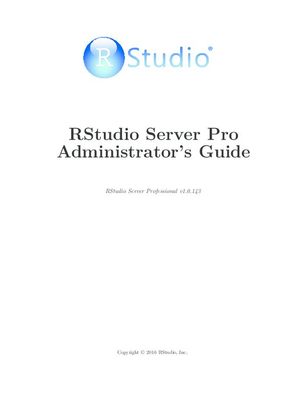 PDF) RStudio Server Pro Administrator's Guide | Aaron Ao