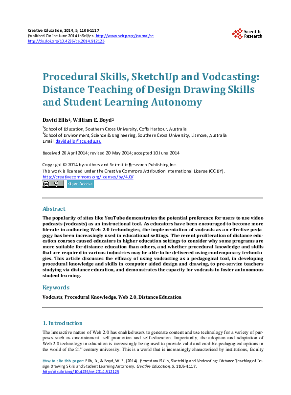 Pdf Procedural Skills Sketchup And Vodcasting Distance Teaching Of Design Drawing Skills And Student Learning Autonomy Dave Ellis And William Boyd Academia Edu