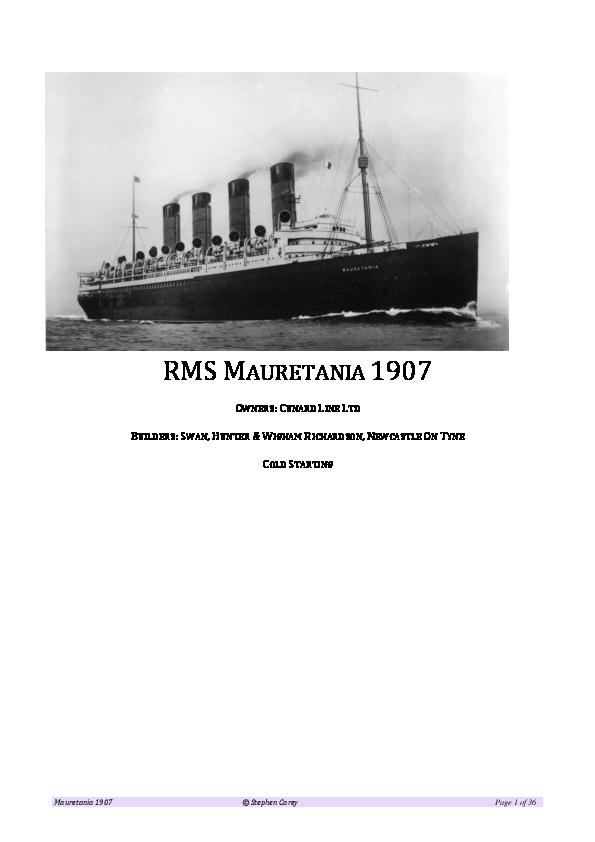PDF) RMS Mauretania 1907 (Rev 1a).pdf | Stephen Carey - Academia.edu