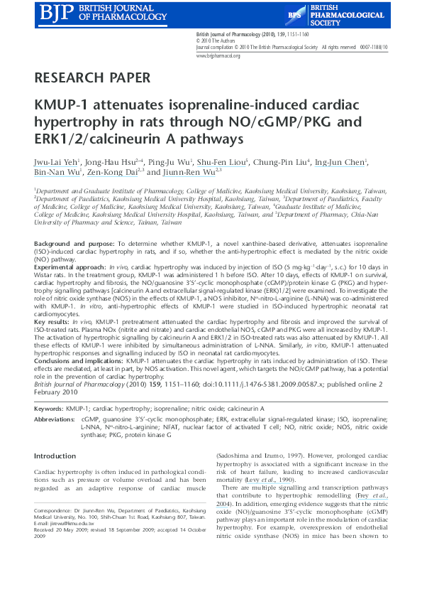 PDF) KMUP-1 attenuates isoprenaline-induced cardiac hypertrophy in