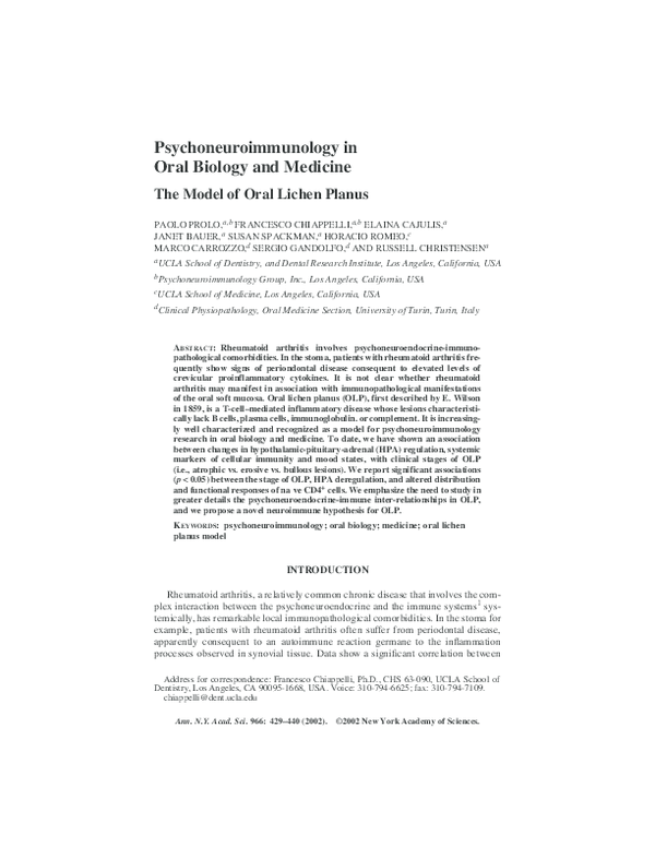 PDF) Psychoneuroimmunology in Oral Biology and Medicine