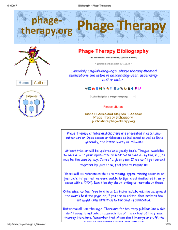 PDF) Phage Therapy Bibliography   Stephen T  Abedon - Academia edu