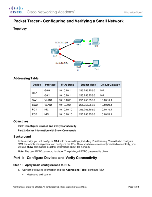 PDF) Packet Tracer -Configuring and Verifying a Small