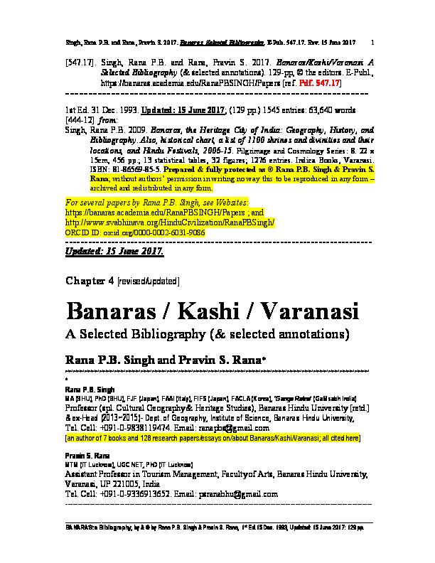 PDF) [547 17]  Singh, Rana P B  and Rana, Pravin S  2017 (15