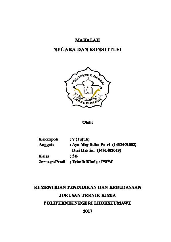 Doc Makalah Negara Dan Konstitusi Ayu Meystika Academia Edu