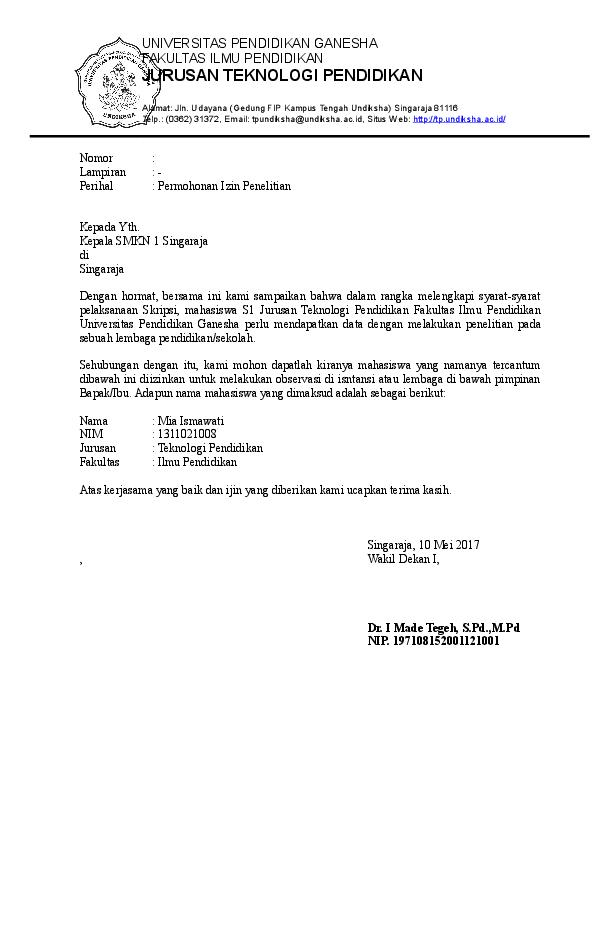 Doc Contoh Surat Pengantar Observasi Penelitian Rio
