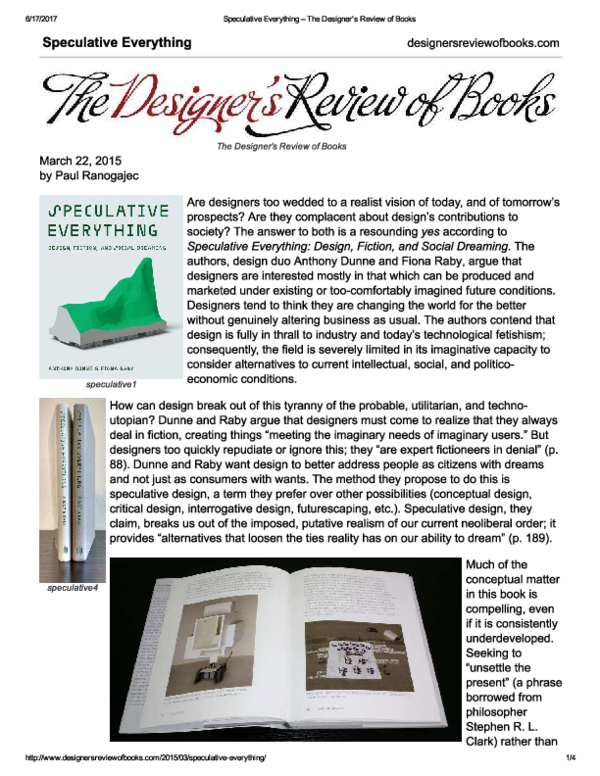 Pdf Review Of Speculative Everything Design Fiction And Social Dreaming Mit Press 2013 By By Anthony Dunne And Fiona Raby Paul Ranogajec Academia Edu