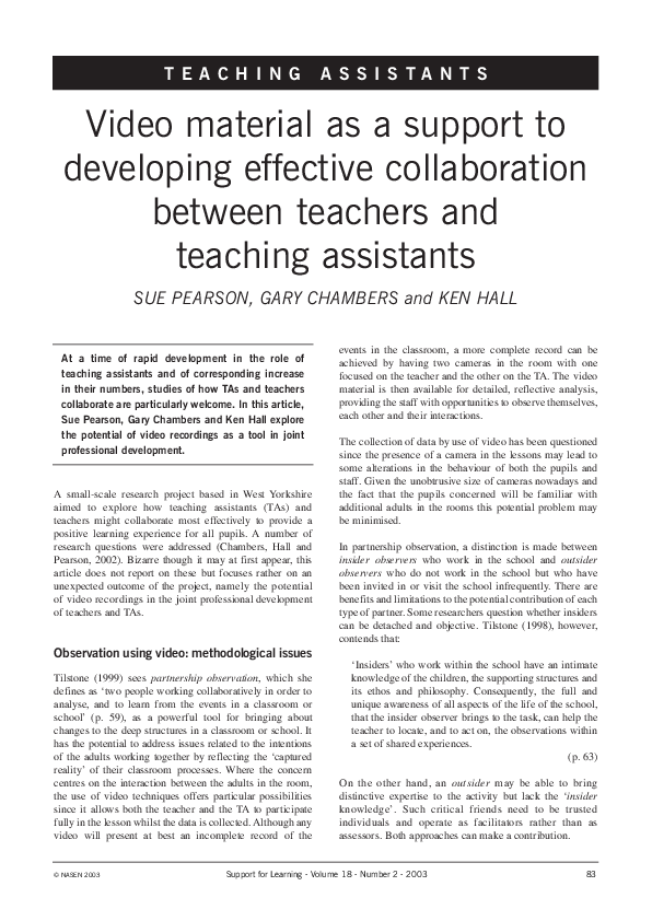 PDF) Video material as a support to developing effective