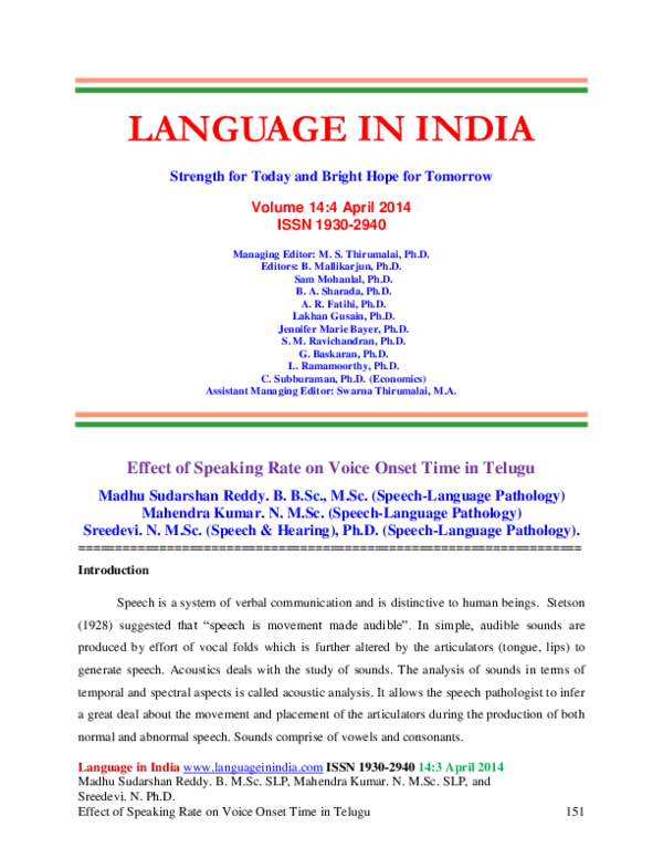 PDF) Effect of Speaking Rate on Voice Onset Time in Telugu