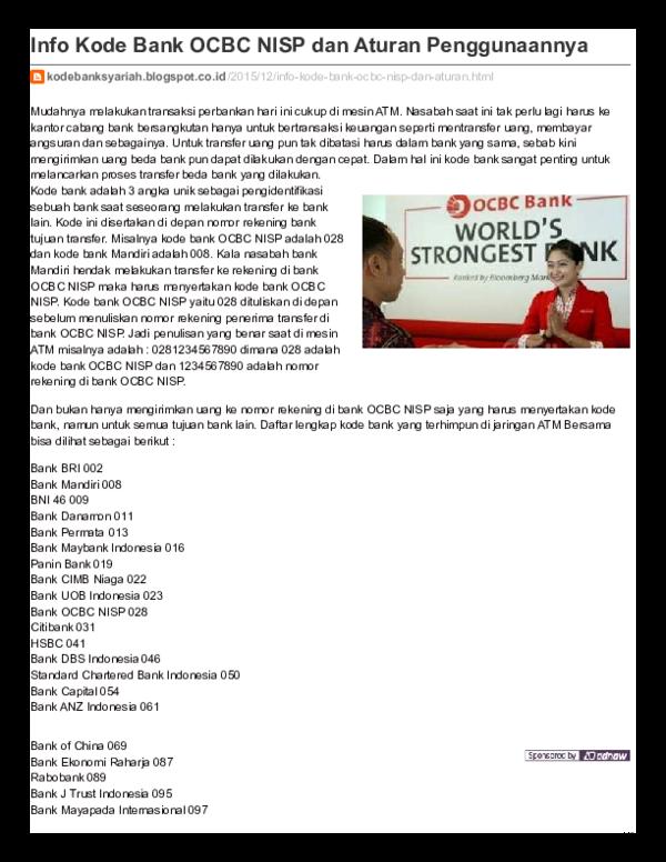 Pdf Info Kode Bank Ocbc Nisp Dan Aturan Penggunaannya Thomas Ivangkia Academia Edu