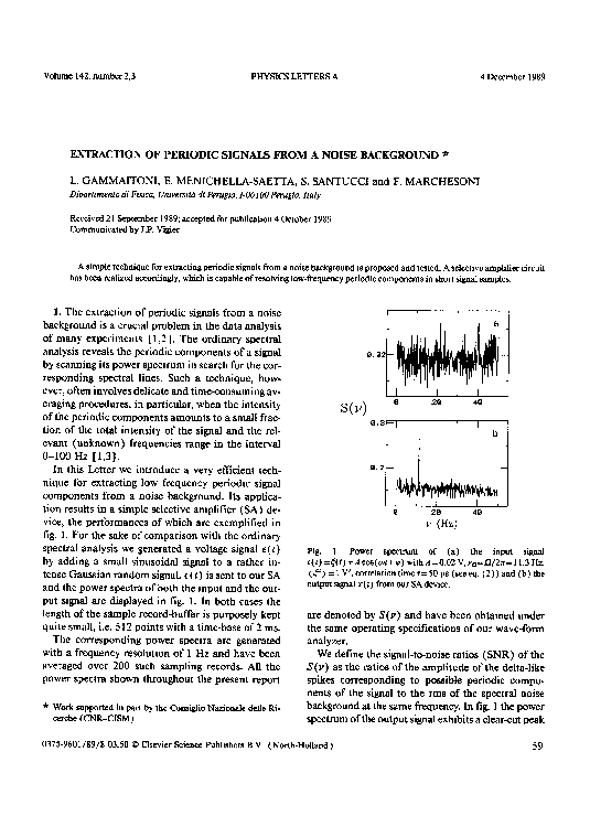 PDF) Extraction of periodic signals from a noise background