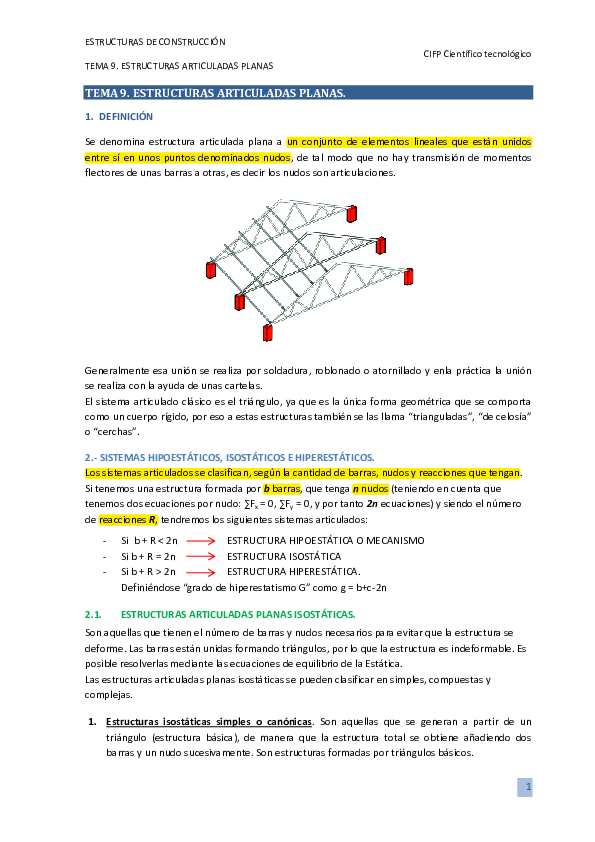 Pdf Tema 9 Estructuras Articuladas Isabel Gonzalez