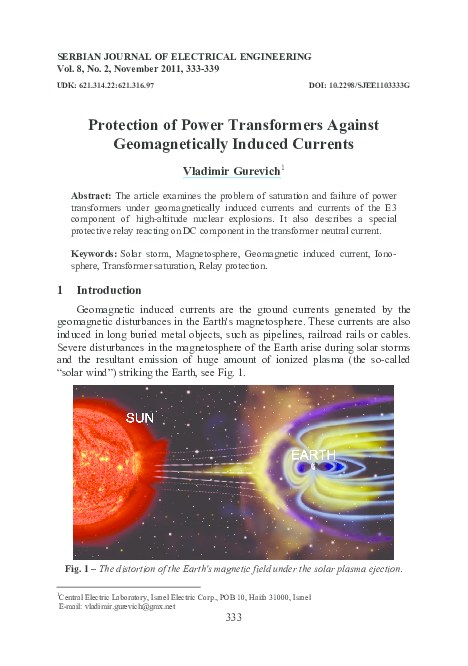 PDF) Protection of power transformers against geomagnetically