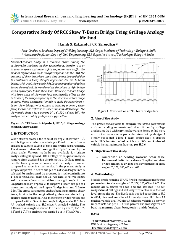 PDF) Comparative Study Of RCC Skew T-Beam Bridge Using