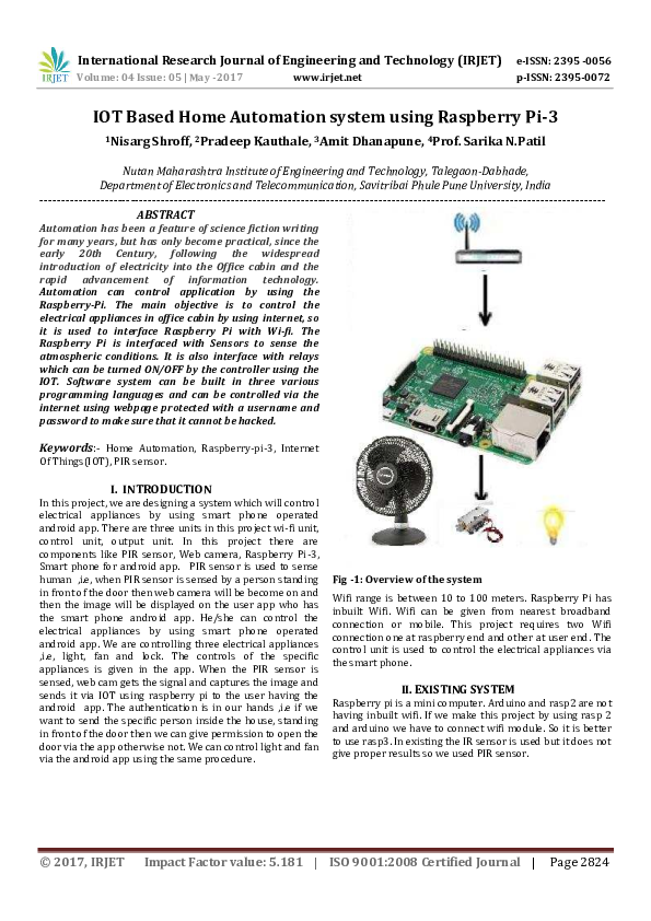 PDF) IOT Based Home Automation system using Raspberry Pi-3