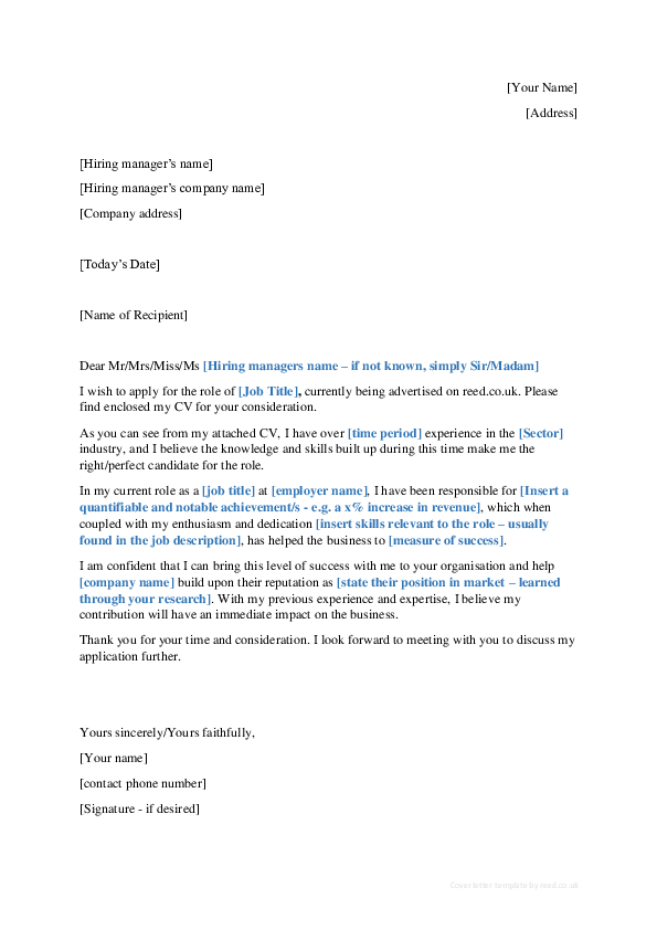 Doc Basic Cover Letter Template 1 Joshua Wood Academiaedu