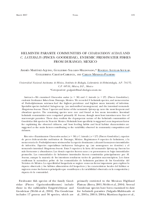 PDF) Helminth Parasite Communities of Characodon Audax and C