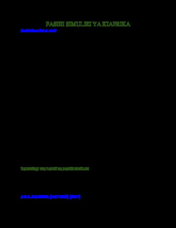 DOC) FASIHI SIMULIZI YA KIAFRIKA | Gerard Msagath - Academia edu