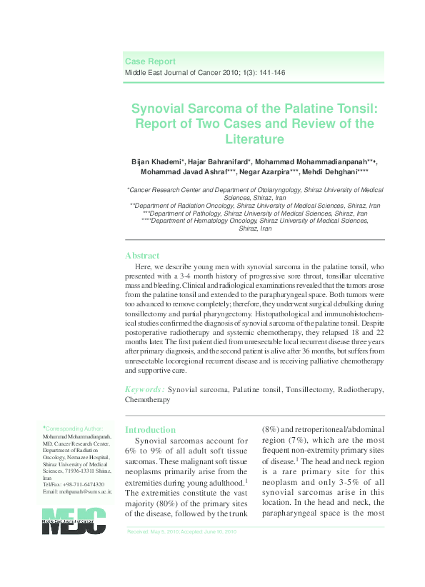 PDF) Synovial Sarcoma of the Palatine Tonsil: Report of Two