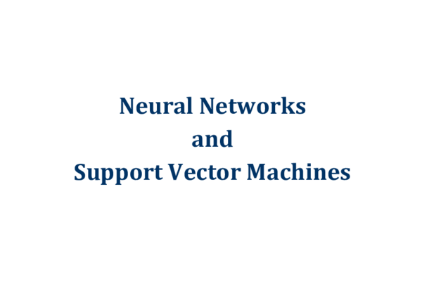 PDF) Neural Networks and Support Vector Machines | Sumijan