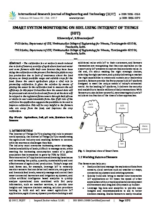 PDF) SMART SYSTEM MONITORING ON SOIL USING INTERNET OF