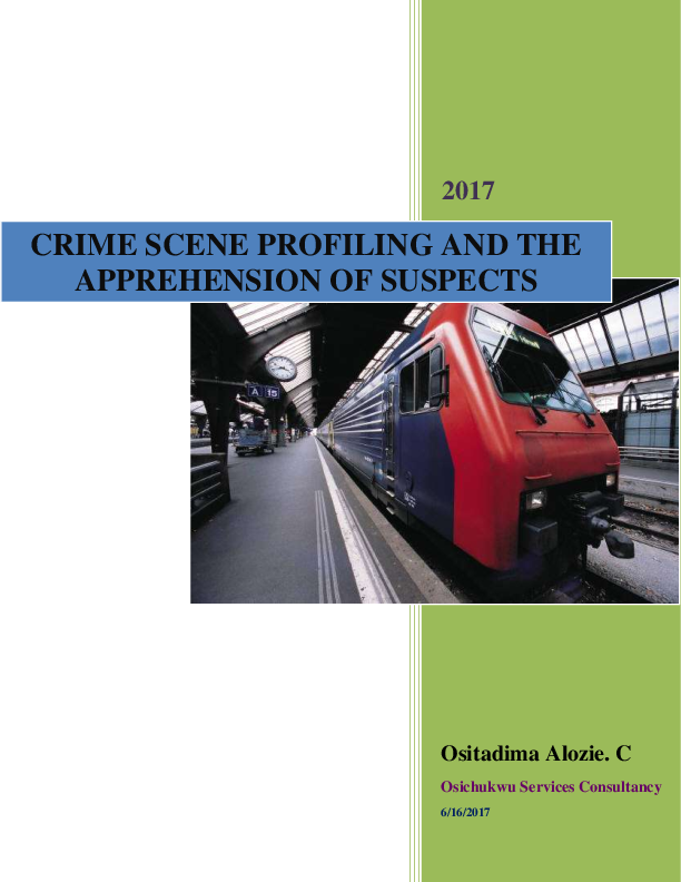 PDF) CRIME SCENE PROFILING AND THE APPREHENSION OF SUSPECTS