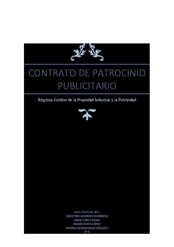 Pdf Contrato De Patrocinio Publicitario Régimen Jurídico De
