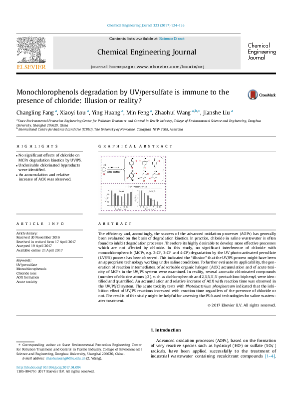 PDF) Monochlorophenols degradation by UV/persulfate is