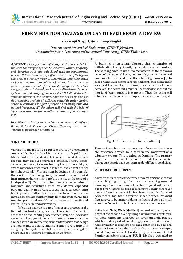 PDF) FREE VIBRATION ANALYSIS ON CANTILEVER BEAM-A REVIEW | IRJET