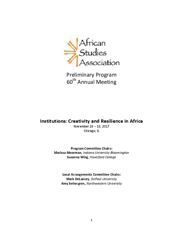 PDF) African Studies Association  Preliminary Program of the