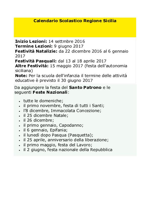 Calendario Scolastico Regione Sicilia.Doc Calendario Scolastico Regione Sicilia Michele
