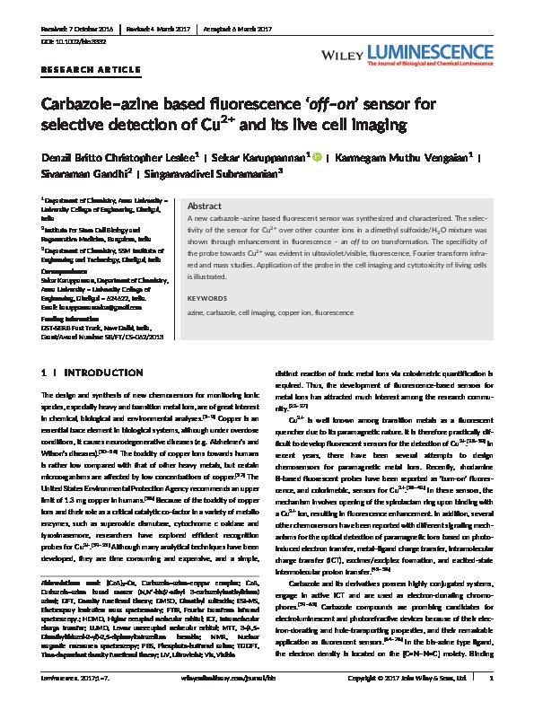 PDF) Carbazole–azine based fluorescence 'off–on' sensor for