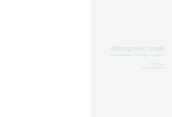 Pdf Atmospheric Smell Hospital Based And Museum Staged