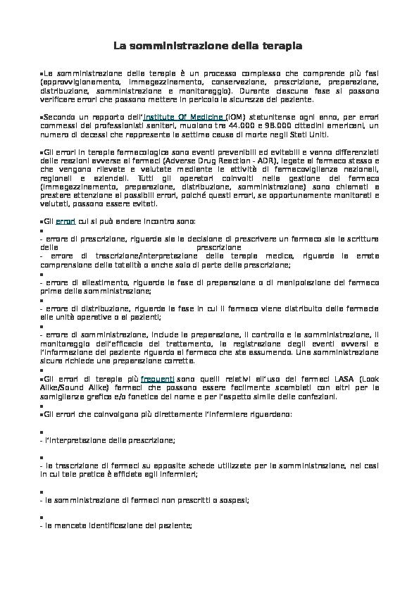 Farmaci E Infermiere Un Prontuario Per La Somministrazione.La Somministrazione Della Terapia Alessandro Suzzi Academia Edu