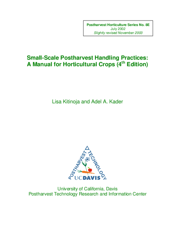 PDF) Small-scale postharvest handling practices: a manual for