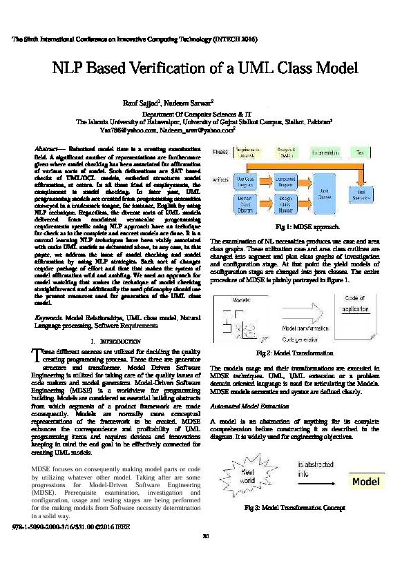 PDF) NLP Based Verification of a UML Class Model | Nadeem