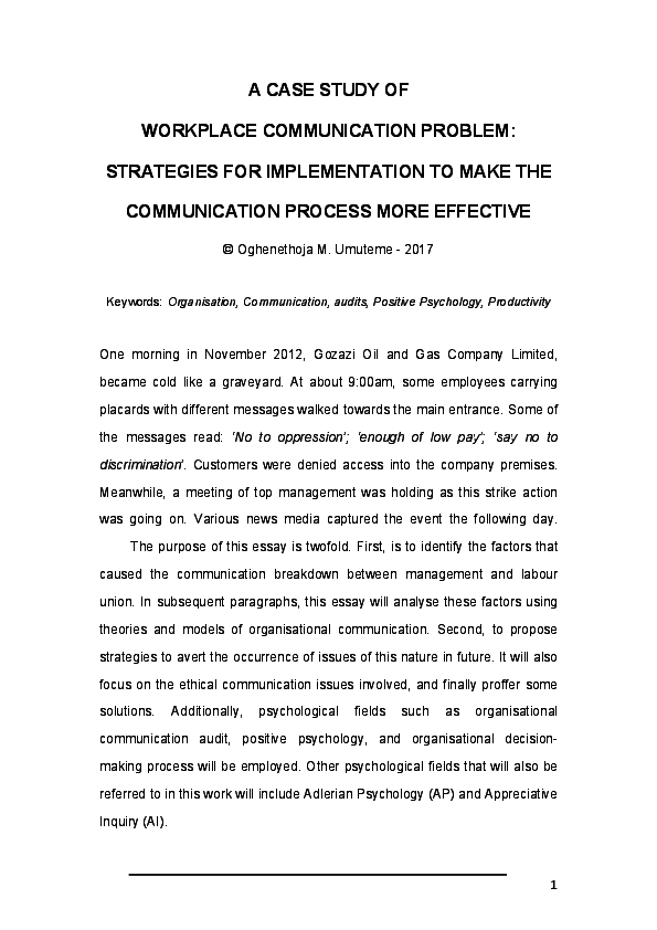 PDF) A CASE STUDY OF WORKPLACE COMMUNICATION PROBLEM: STRATEGIES FOR