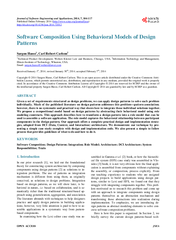 Pdf Software Composition Using Behavioral Models Of Design Patterns Sargon Hasso Academia Edu