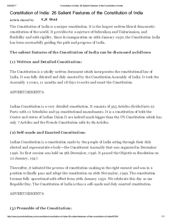 PDF) of-india-26-salient-features-of-the-constitution-of