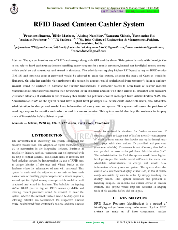 PDF) RFID Based Canteen Cashier System | IJREAM EDITOR - Academia edu