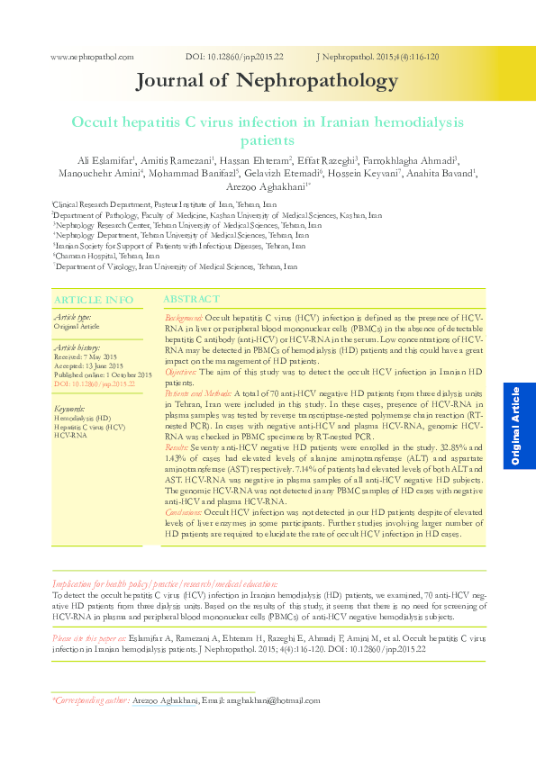 PDF) Occult hepatitis C virus infection in Iranian