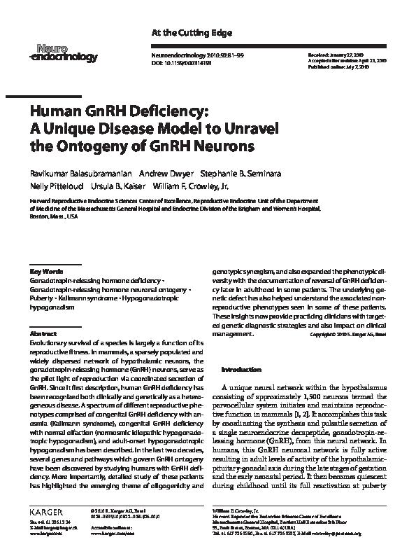 PDF) Human GnRH Deficiency: A Unique Disease Model to Unravel the